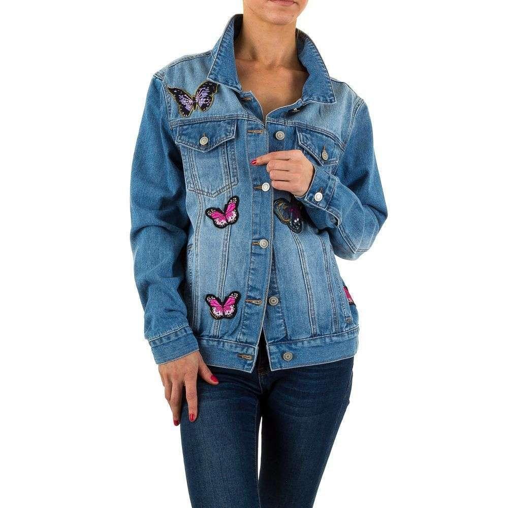 Женская джинсовая куртка с вышитыми бабочками Soky&Soka (Италия) Голубой