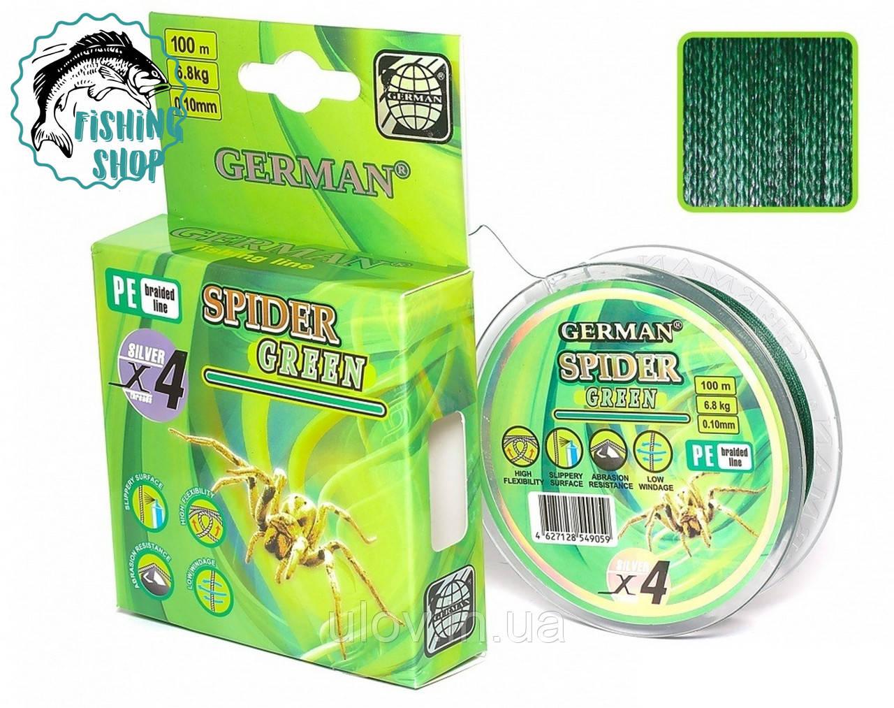 "Шнур  ""SPIDER GREEN"" 100 м/0.18 мм/14.1 кг."