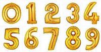 Шар фольгированный Цифра Золото лицензионный