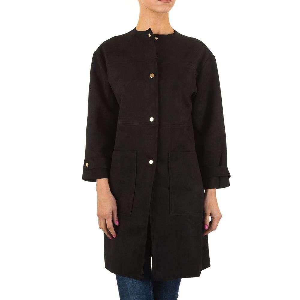 Черное пальто из искуственной замши (Европа) Черный