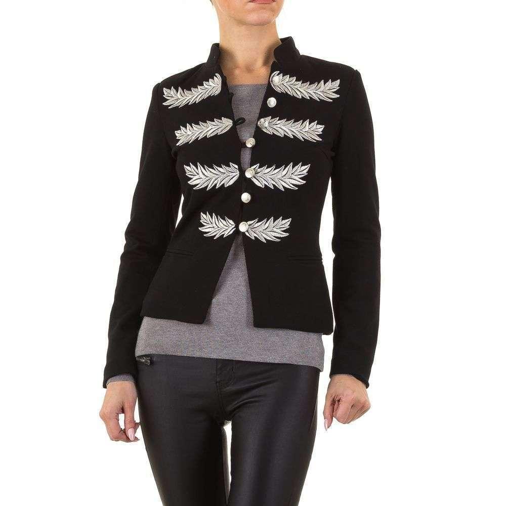 Пиджак милитари женский с серебряной вышивкой (Европа), Черный