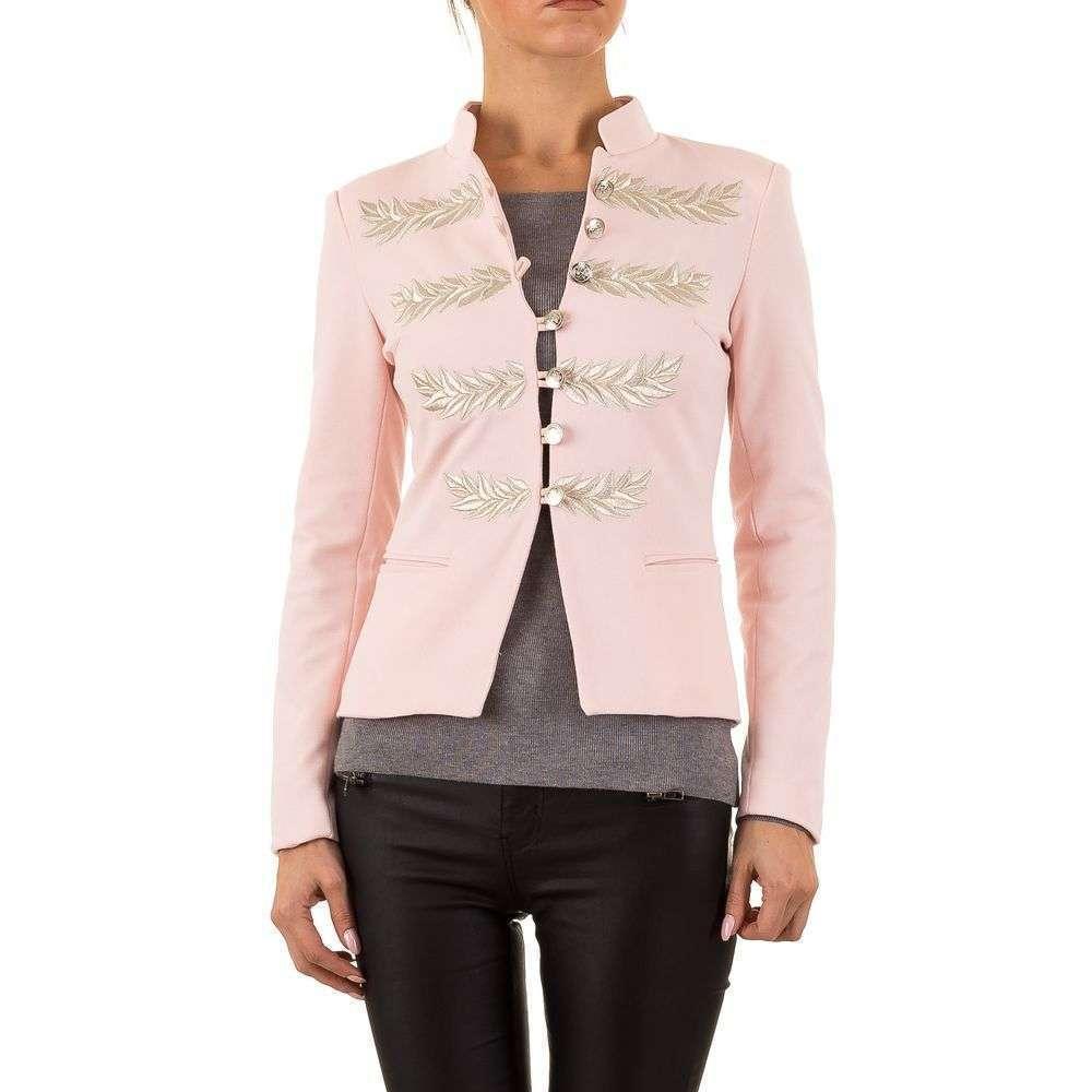 Пиджак милитари женский с серебряной вышивкой (Европа), Пудровый