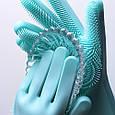 Силиконовые перчатки с ворсинками для мытья посуды, фото 5