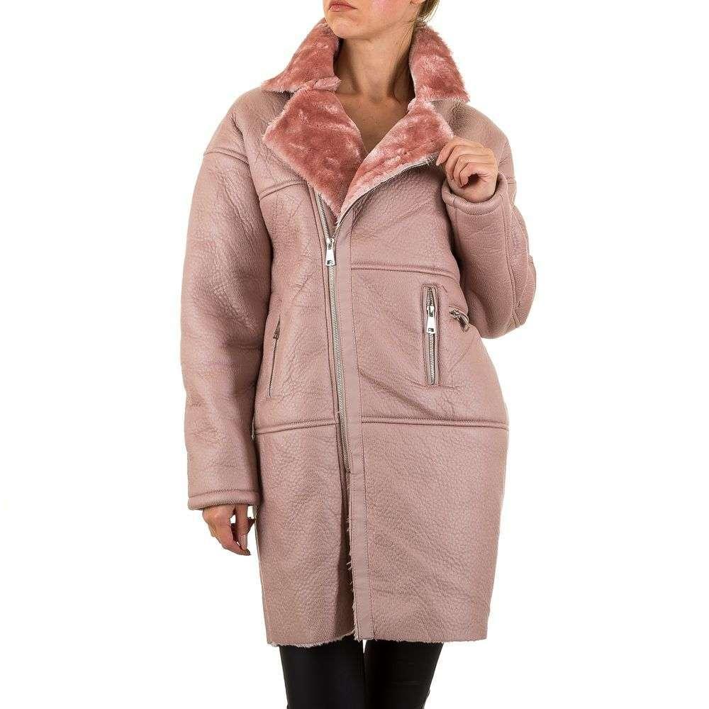 Искусственная дубленка женская оверсайз стиль (Европа), Розовый