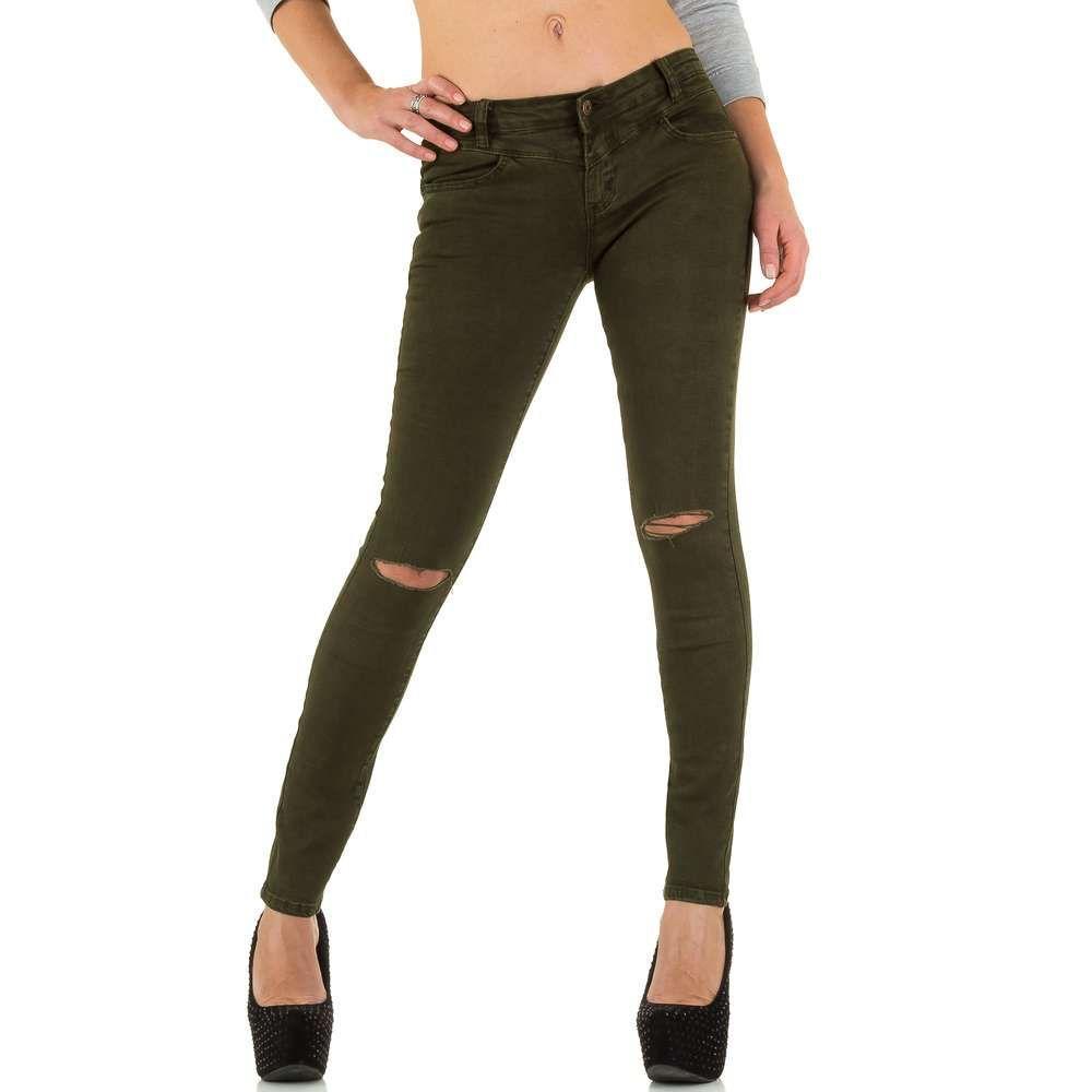 8053de055464 Женские джинсы скинни с рваными коленями Goldenim (Франция), Хаки купить  оптом в ...