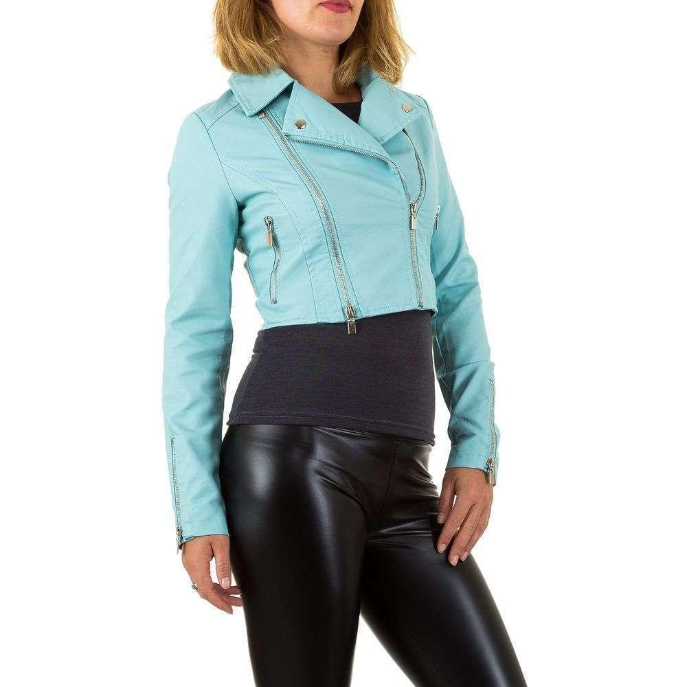 Короткая куртка байкерская женская с молниями (Европа), Голубой