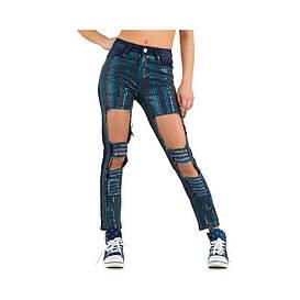 Женские блестящие джинсы с пайетками и дырками Julie By Jcl (Франция), Темно-синий