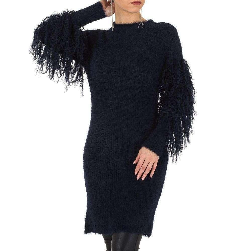 Женский свитер платье с бахромой на рукавах Voyelles (Италия), Темно-синий