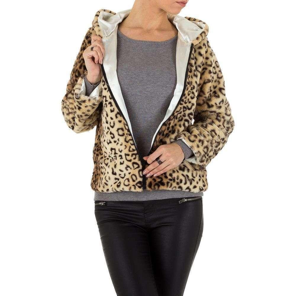 Плюшевая куртка женская с капюшоном Holala (Европа), Леопардовый