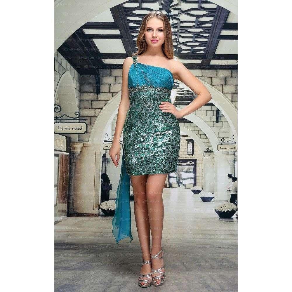 Женское платье от Festamo - бирюза - Мкл-F4743-бирюза