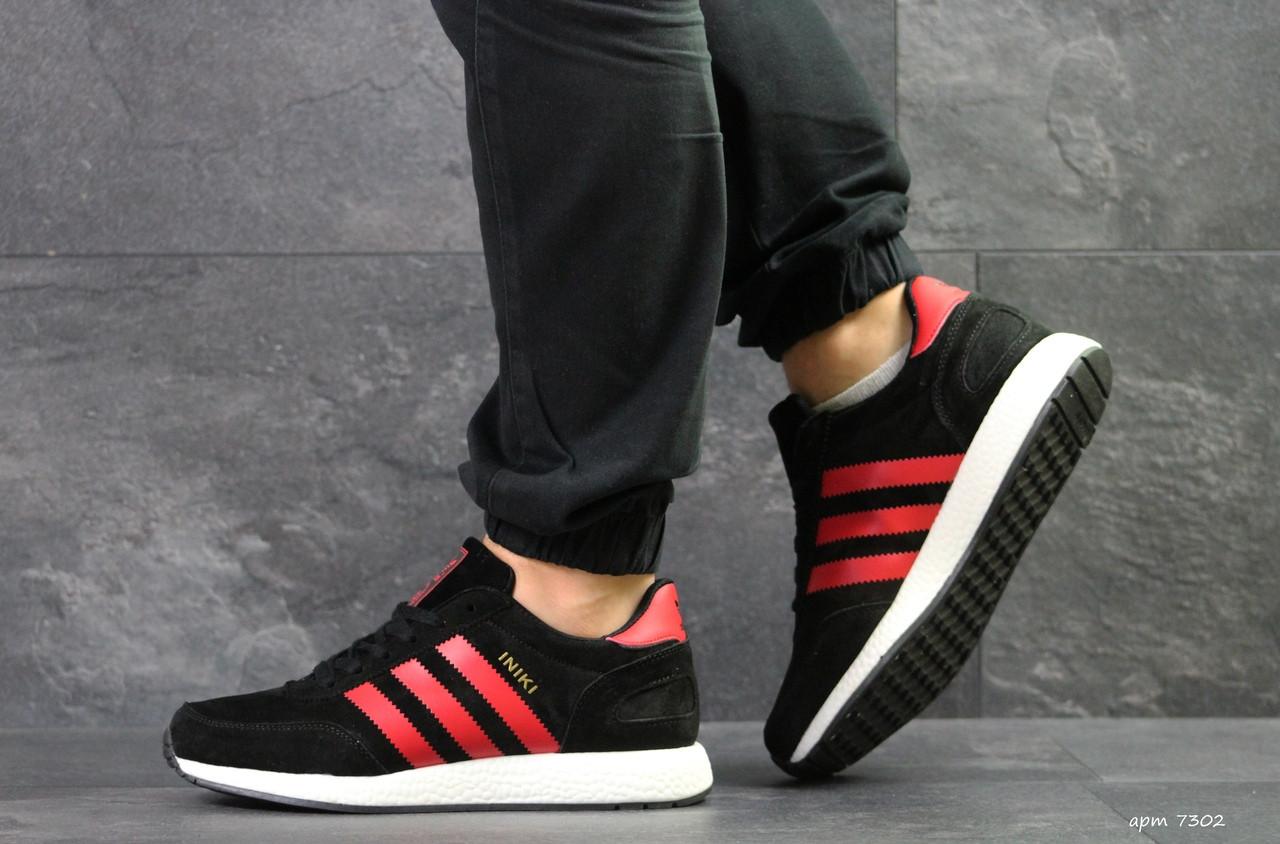 Мужские кроссовки Adidas Iniki,замшевые,черные с красным