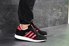 Мужские кроссовки Adidas Iniki,замшевые,черные с красным, фото 2