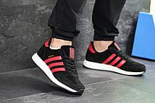Мужские кроссовки Adidas Iniki,замшевые,черные с красным, фото 3