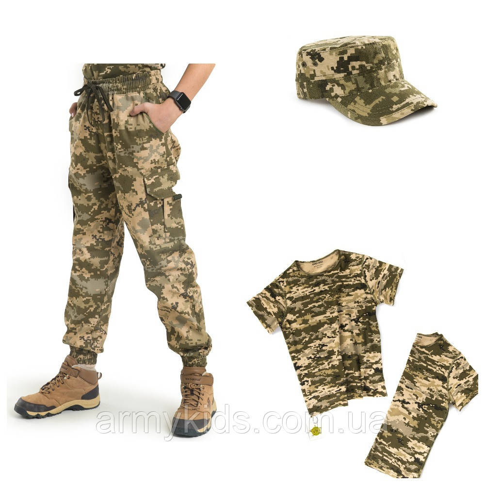 Детский камуфляж комплект футболка брюки кепка СкаутПиксель