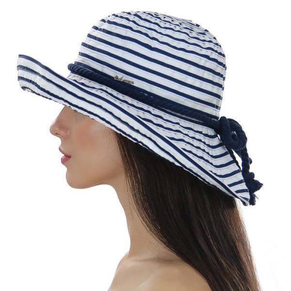 Летняя женская шляпа  средние поля цвет белый + синий