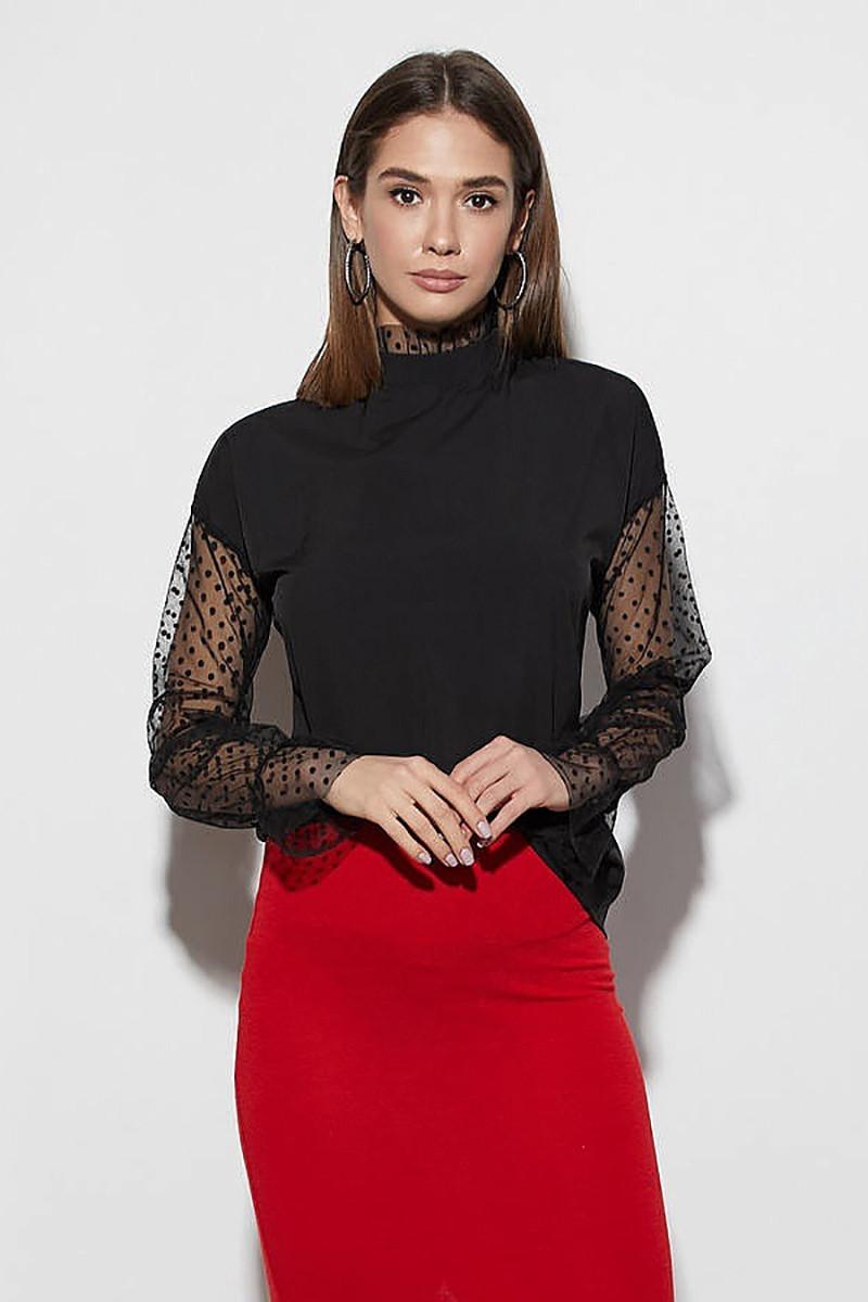 (S, M, L) Молодіжна чорна блузка з сіточкою Fenix