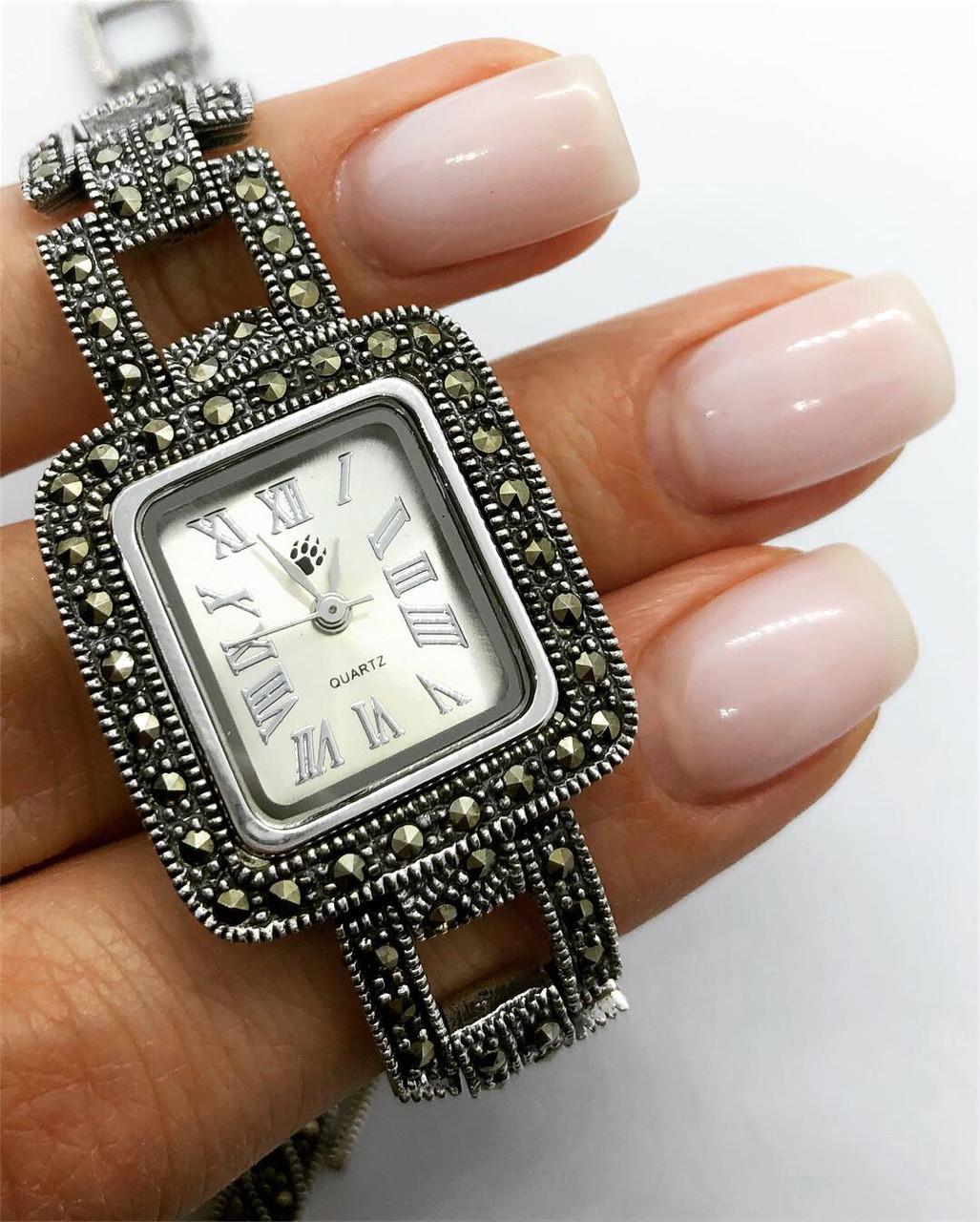Часы из капельного серебра 925 Beauty Bar классические квадрат, камни марказиты