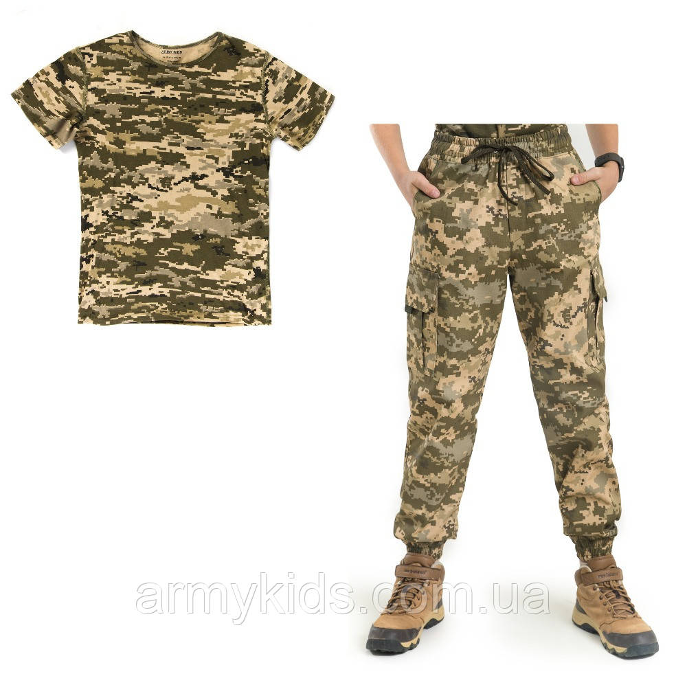 Детский камуфляж комплект футболка брюки Скаут Пиксель