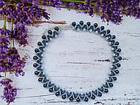 Колье, ожерелье серо-синее из бисера и бусин ручной работы
