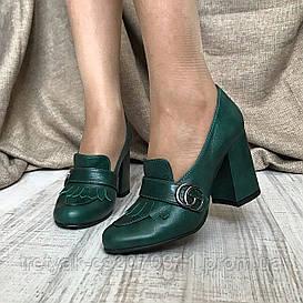 Модные  женские туфли в стиле Gucci на широком каблуке зелёного цвета