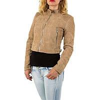 Куртка женская короткая под экозамш, воротник стойка (Европа), Бежевый