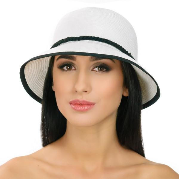 Женская шляпа с маленькими полями цвет белы+ черный