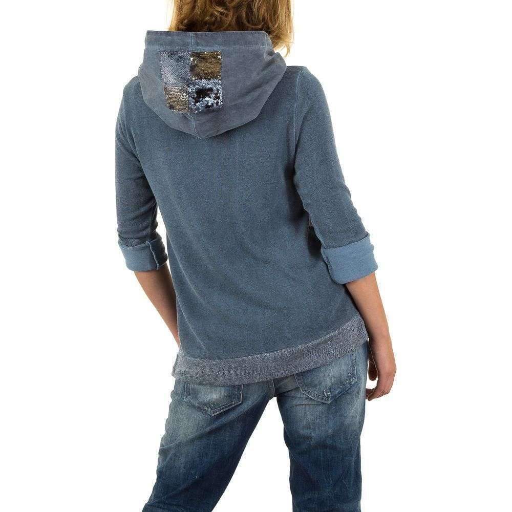Женский свитшот с пайетками на капюшоне Carla Giannini (Италия), Синий