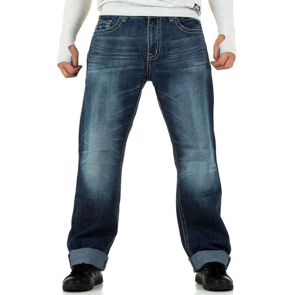 Прямые джинсы мужские с контрастной строчкой  N&G 79 (Европа), Синий