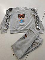 Спортивный костюм детскийдля девочки, 7-11лет, серый