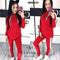 Женский спортивный костюм с капюшоном красный с белыми лампасами 42-44 44-46 48-50 50-52, фото 1
