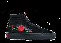 Кеды Vans Old Skool Hi Roses All Black (Высокие с розами)