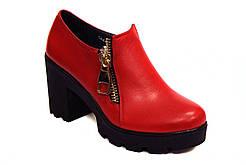 Большой размер туфли красные женские на каблуке Eterno Zip Red Lether BS by Rosso Avangard