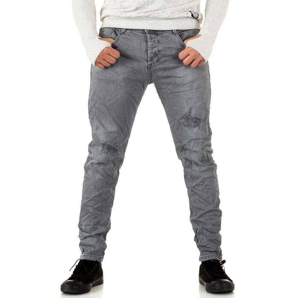 Мятые джинсы мужские узкие Y.Two Jeans (Италия), Светло-серый
