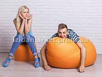 Комплект кресло мешок груша + пуфик оранжевого цвета из эко-кожи