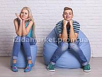 Комплект кресло мешок груша + пуфик голубого цвета из эко-кожи
