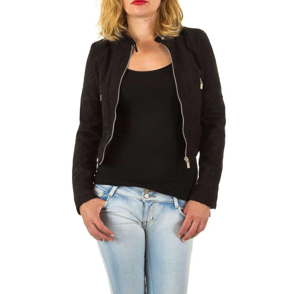 Куртка женская короткая под экозамш, воротник стойка (Европа), Черный