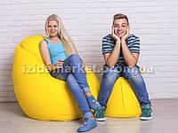 Комплект кресло мешок груша + пуфик желтого цвета из эко-кожи