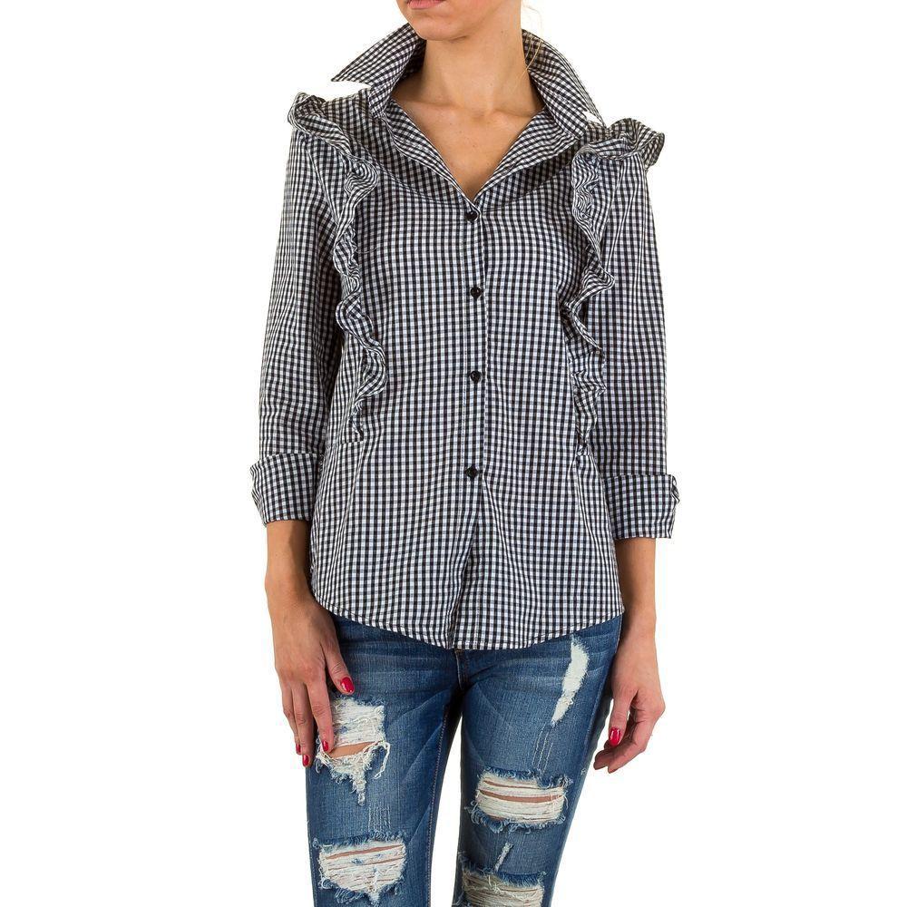 7804d170d166a61 Женская рубашка в клетку с воланами Shk Mode (Европа) купить оптом в ...
