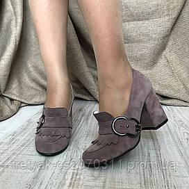 Модные  женские туфли в стиле Gucci на широком каблуке бежевого цвета