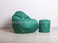 Комплект кресло мешок груша + пуфик зеленого цвет