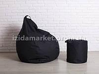 Комплект кресло мешок груша + пуфик  черного цвет