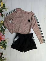 Подростковый костюм для девочки, 8-12 лет, бежевая кофта с чёрными шортами