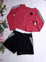 Підлітковий костюм для дівчинки, 8-12 років, червона кофта з чорними шортами