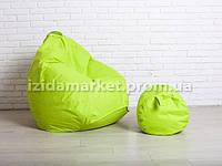 Комплект кресло мешок груша + пуфик салатового цвет