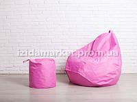 Комплект кресло мешок груша + пуфик розового цвет