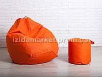 Комплект кресло мешок груша + пуфик оранжевого цвет