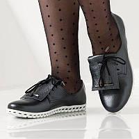 Женские кожаные спортивные туфли на шнурках, темно-серые, 36 размер (23.5)