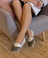 Женские кожаные мокасины-слипоны Perla Т25С 36 хаки/серебро
