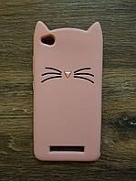 Объемный 3d силиконовый чехол для Xiaomi Redmi 4a Усатый кот розовый