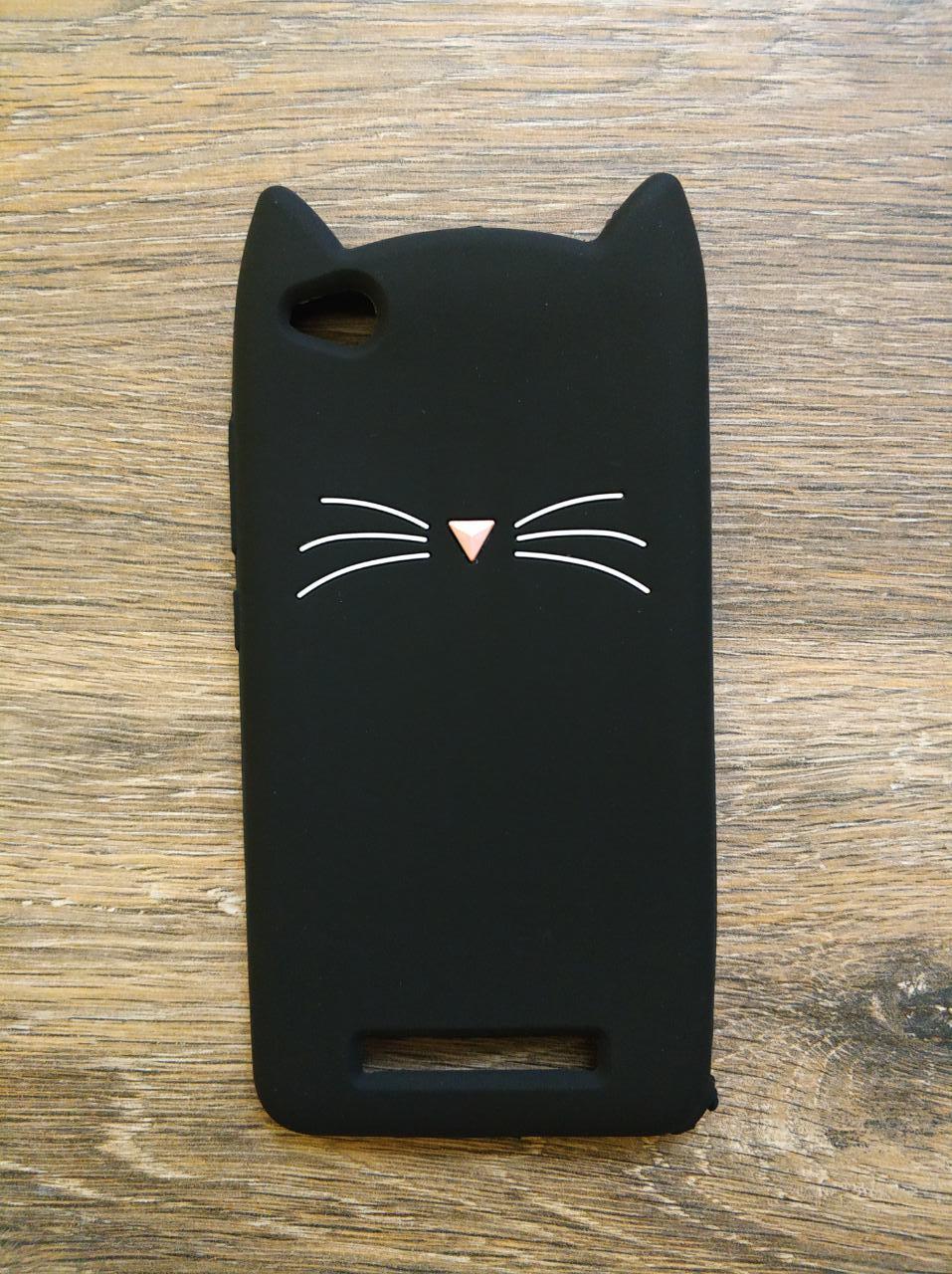 Объемный 3d чехол для Xiaomi Redmi 4a Усатый кот черный